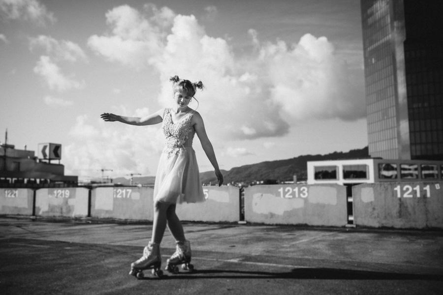 Fotoshooting Action mit Rollschuhen